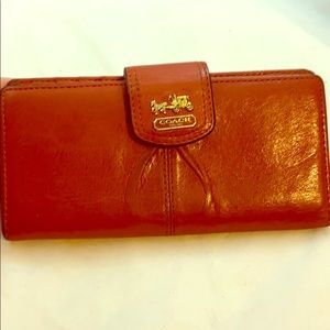 Coach Persimmon Orange Leather Medium Zip Wallet